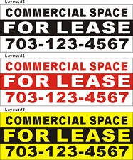 3ftX8ft Custom Printed COMMERCIAL SPACE FOR LEASE Banner with Your Phone Number