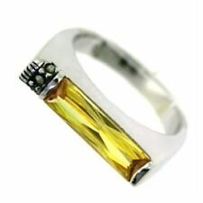 724  SIMULATED CITRINE 925 STERLING SILVER BAND RING YELLOW RECTANGLE WOMENS