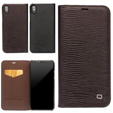QIALINO Real Cowhide Leather Protective Bumper Slim Flip Case Cover For iPhone X