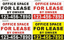 3ftX5ft OFFICE SPACE FOR LEASE BY OWNER Banner Sign with Your Phone Number
