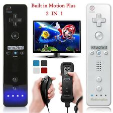 Built in Motion Plus Remote Nunchuck Controller + Case for Nintendo Wii /Wii U