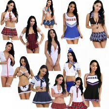 Womens Sexy Naughty School Girls Fancy Dress Costume Outfit Secretary Costumes