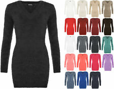 New Womens Stretch Bodycon V Neck Fluffy Long Sleeve Top Sweater Ladies Jumper