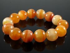 Natural Orange Agate Round 16mm Stone Beads with Stretchy Bracelet