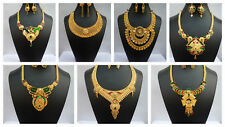 Necklace Earrings Indian Gorgeous Designer 22K Gold Plated Unique Glittering Set