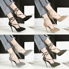 Fashion Lace Up Sexy Sequins PU Bowknot Stilettos High Heels Ladies Pumps Shoes