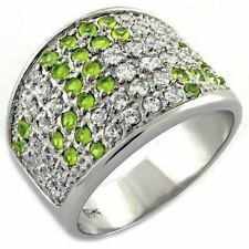 1007 PERIDOT CLEAR COMFORT SIMULATED DIAMOND 925 STERLING SILVER RING WOMENS