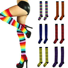 Women Girls Striped Stripy Thigh High Over The Knee Long Socks Stockings 17Color