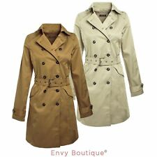 Ladies Womens Belted Double Breasted Trench Mac Jacket Coat Sizes 8-14