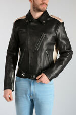 MAISON MARTIN MARGIELA MM10 New Man Bicolor Leather Biker Jacket Made in Italy
