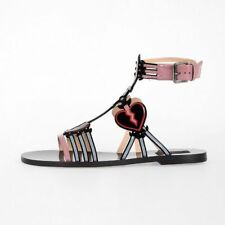 VALENTINO GARAVANI New Woman Leather Sandals Flat Shoes Made in Italy