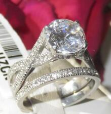 478 SIMULATED DIAMOND RING ENGAGEMENT WEDDING BAND SET SOLITAIRE STAINLESS STEEL