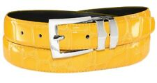 Croc SUNFLOWER YELLOW Bonded Leather Men's Belt Silver-Tone Buckle size 32