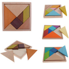 Children Early Learning Tangram Board Geometrical Jigsaw Puzzle Wooden Toy Fun