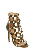 Womens Olive High Stiletto Heel Cut Out Studded Open Toe Ankle Boots Shoes New