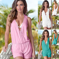 Womens Summer V Neck Backless Playsuit Ladies Beach Jumpsuit Casual Beach Dress