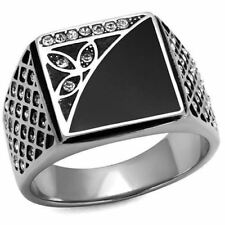 MENS 711 SIGNET SQUARE SIMULATED DIAMOND ONYX STAINLESS STEEL BLACK RING DETAIL