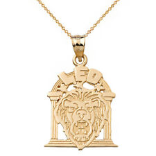 Solid 10k White Gold Zodiac Astrological Sign Leo Lion Head Pendant Necklace
