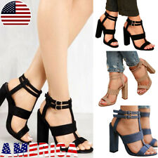 Women's Casual Sandals High Heels Lace Up Open Toe Summer Party Ankle Shoes Size