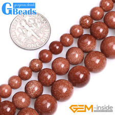 """Smooth Round Brown Gold Sandstone Loose Beads for Jewelry Making DIY Strand 15"""""""