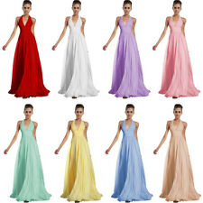 Chiffon Sexy V-neck Ruched Empire Waist Long Prom Evening Gown Bridesmaid Dress
