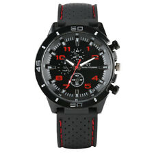 Mens Sport Watch Black Silicone Strap Analog Quartz Fashion Military Watches