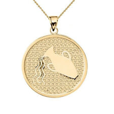 Solid 14k Yellow Gold Aquarius Zodiac Disc Pendant Necklace