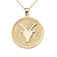 Solid 14k Yellow Gold Capricorn Zodiac Disc Pendant Necklace