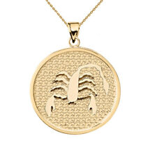 Solid 10k Yellow Gold Scorpio Zodiac Disc Pendant Necklace