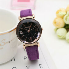 Fashion Women Leather Band Stainless Steel Quartz Analog Wrist Watch Bling Dial