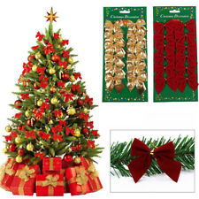 12Pcs Color Bow Christmas Tree Xmas Hanging Ornament Bowknot Party Decoration H1