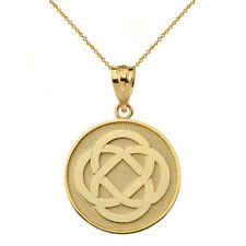Polished Solid 14k Yellow Gold Celtic Knot Flower Disc Pendant Necklace