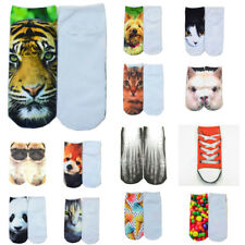 US 1 Pair Fashion Men Women Casual Low Cut Ankle Socks Cotton 3D Printed Animals