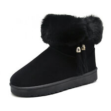 Womens Winter Warm Snow Boots Ankle Fur Lined Thicken Tassel Flats Fashion Suede