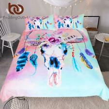 Skull Feathers Bedding Set Watercolor Boho Duvet Cover Floral Pink Blue Girly Ho