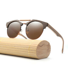 Retro Round Polarized Solid Wood UV400 UV Protection Sunglasses for Women Men