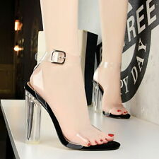 Women Strappy Sandals Block High Heels Open Toe Transparent Party Wedding Shoes