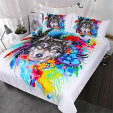 Floral Boho Wolf Duvet Cover Set Cool Wildlife Bedding Queen for Adults Bright R