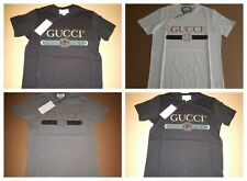 GUCCI MEN`S CASUAL SILVERY PRINTED T-SHIRT NWT 100% COTTON