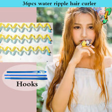36pcs Water Wave Magic Curlers Formers Leverage Spiral Hairdressing Tool 25-30cm