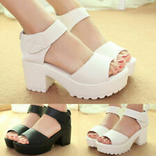 Women Ankle Strap Peep Toe Sandals Mid Heel Chunky Platform Casual Shoes Fashion