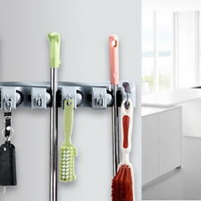 Easy Install PP Broom and Mop Holder Space Saving Wall Mounted Tool Storage Rack