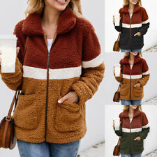 Womens Warm Long Sleeve Outwear Striped Fleece Pullover Sweatshirt Casual Coat