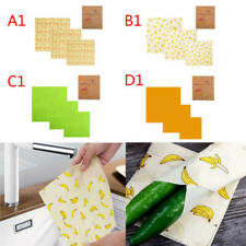 3 x Beeswax Food Wraps Food Covers Reusable Eco-Friendly Wash Wrap Stretch asf