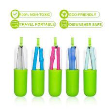 Reusable Straw Food Grade Silicone Drinking Straws Portable Folding With Case