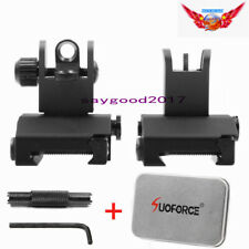 Tactical QD Flip Up Front Rear Iron Sight Set Dual Aperture W/Tool Box For Rifle