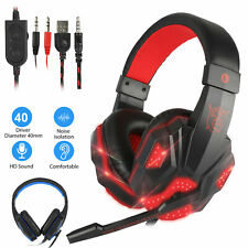 3.5mm Gaming Headset LED Headphones Stereo Bass Surround For PC Xbox One PS5 USB