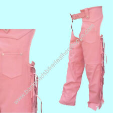 LADIES WOMENS PINK LEATHER MOTORCYCLE CHAPS W/ FRINGE SIZES 2XS-3XL