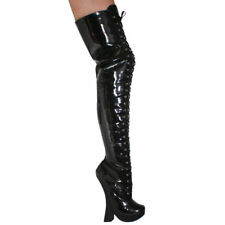 "8"" FETISH BLACK PATENT LACE-UP THIGH HIGH BOOTS - Sz 5-14"