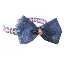 Two Tone Denim Bow on Woven Headband -You choose colors